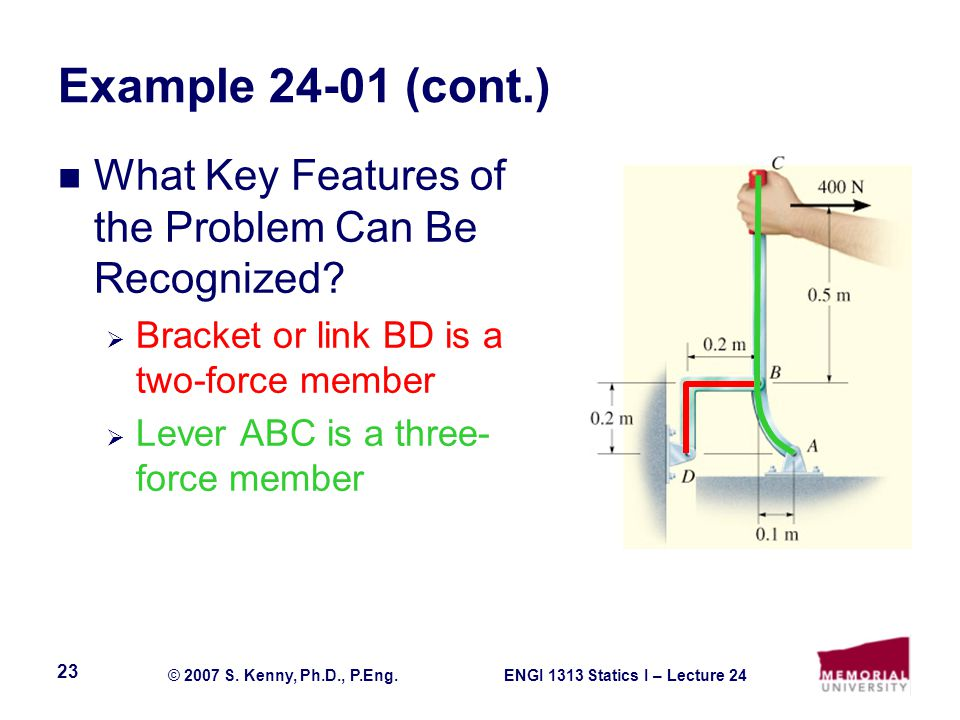 ENGI 1313 Statics I – Lecture 24© 2007 S. Kenny, Ph.D., P.Eng.