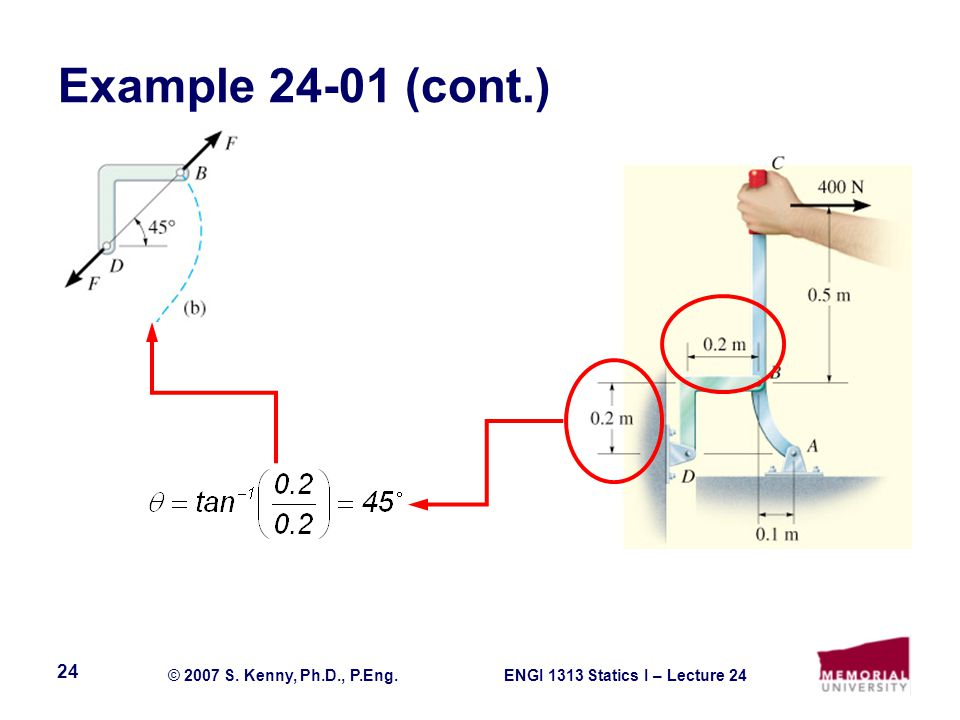ENGI 1313 Statics I – Lecture 24© 2007 S. Kenny, Ph.D., P.Eng. 24 Example (cont.)