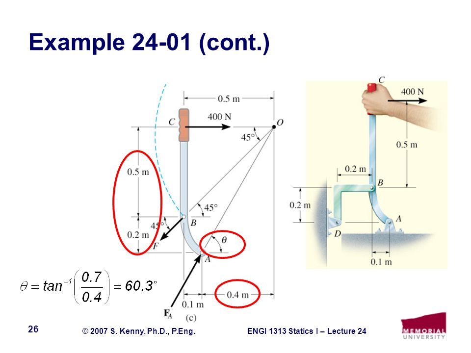 ENGI 1313 Statics I – Lecture 24© 2007 S. Kenny, Ph.D., P.Eng. 26 Example (cont.)
