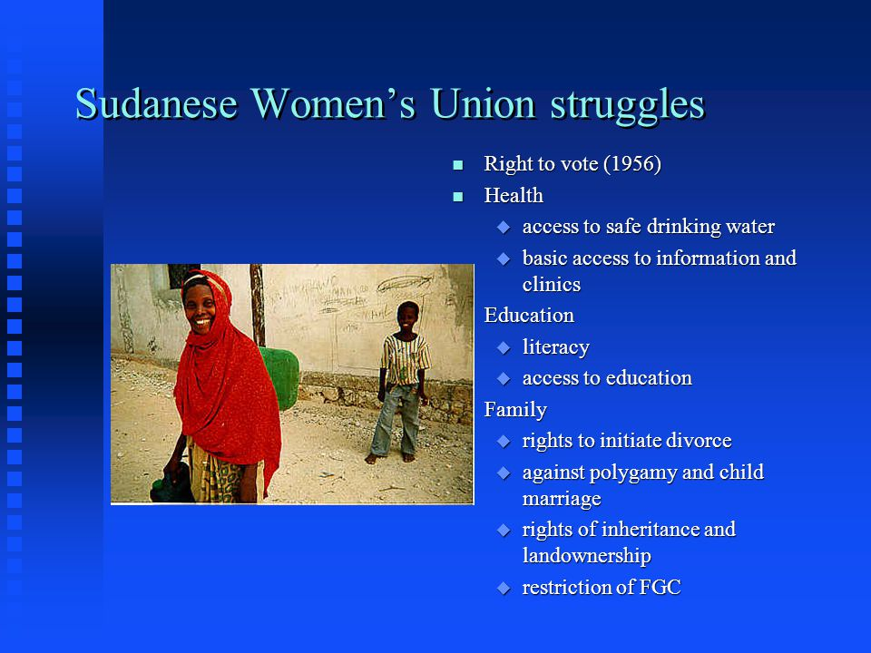 African women's rights movements n Emerged in many African countries starting in 1920s n Rooted in educated, urban middle class women n Committed to uplifting poor women n Connected to strong anti- colonial sentiment n Egyptian Feminist Union (1923) led by Huda Shaarawi; Sudanese Women's Union (1942), led by Fatima Ibrahim