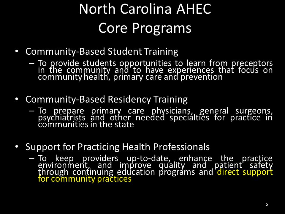 North Carolina AHEC Core Programs Community-Based Student Training – To provide students opportunities to learn from preceptors in the community and to have experiences that focus on community health, primary care and prevention Community-Based Residency Training – To prepare primary care physicians, general surgeons, psychiatrists and other needed specialties for practice in communities in the state Support for Practicing Health Professionals – To keep providers up-to-date, enhance the practice environment, and improve quality and patient safety through continuing education programs and direct support for community practices 5