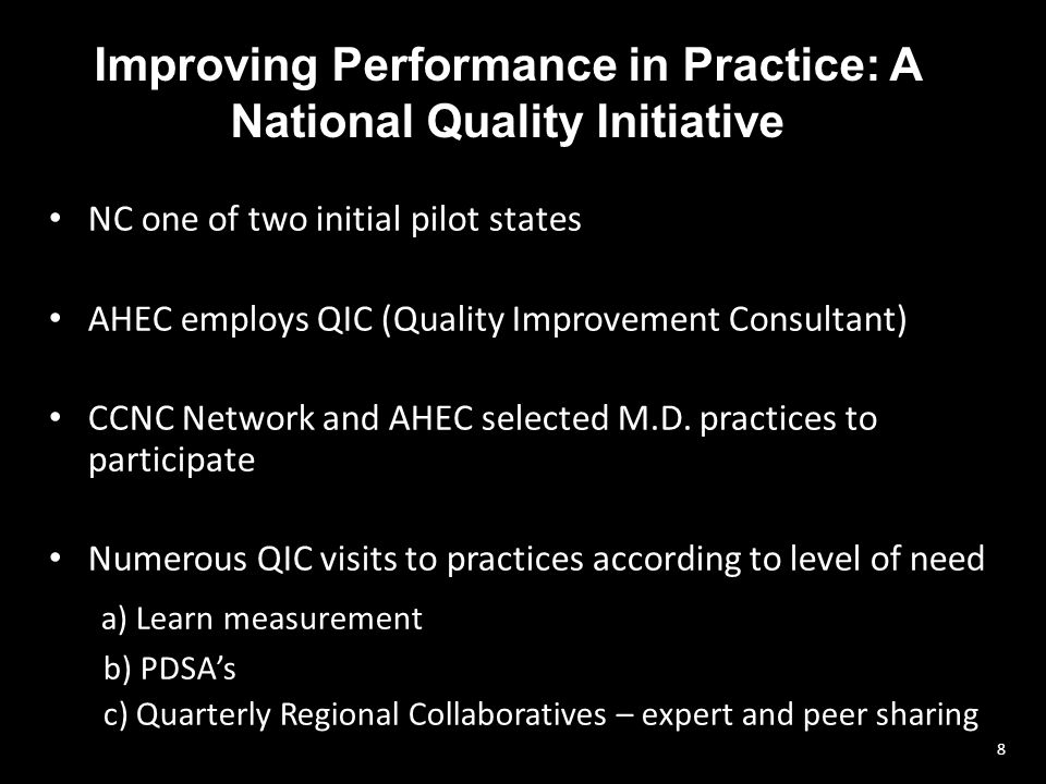 Improving Performance in Practice: A National Quality Initiative NC one of two initial pilot states AHEC employs QIC (Quality Improvement Consultant) CCNC Network and AHEC selected M.D.