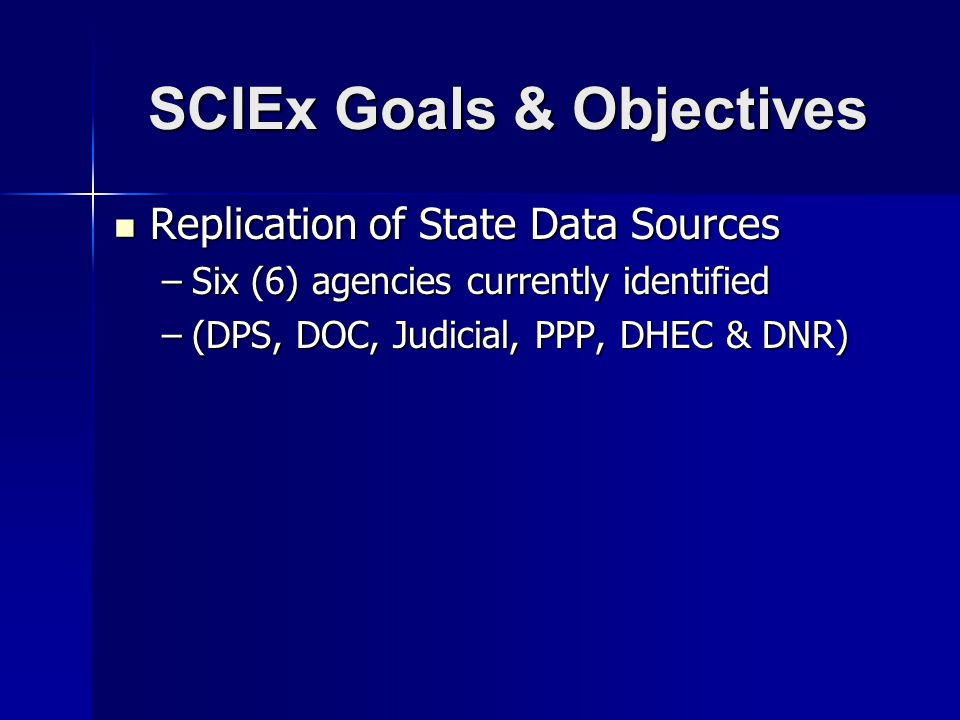 SCIEx Goals & Objectives Replication of State Data Sources Replication of State Data Sources –Six (6) agencies currently identified –(DPS, DOC, Judicial, PPP, DHEC & DNR)