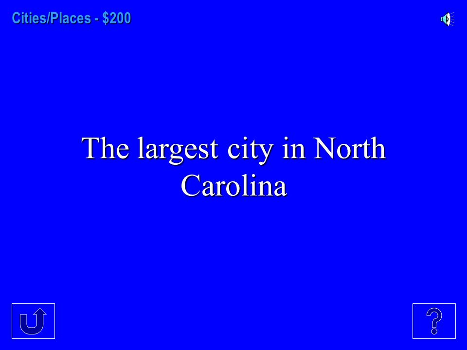 Cities/Places - $100 The capital of North Carolina.
