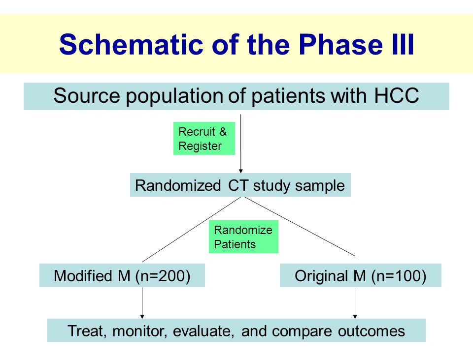 Schematic of the Phase III Source population of patients with HCC Randomized CT study sample Modified M (n=200)Original M (n=100) Recruit & Register Randomize Patients Treat, monitor, evaluate, and compare outcomes