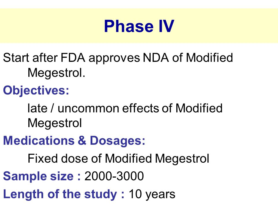 Phase IV Start after FDA approves NDA of Modified Megestrol.