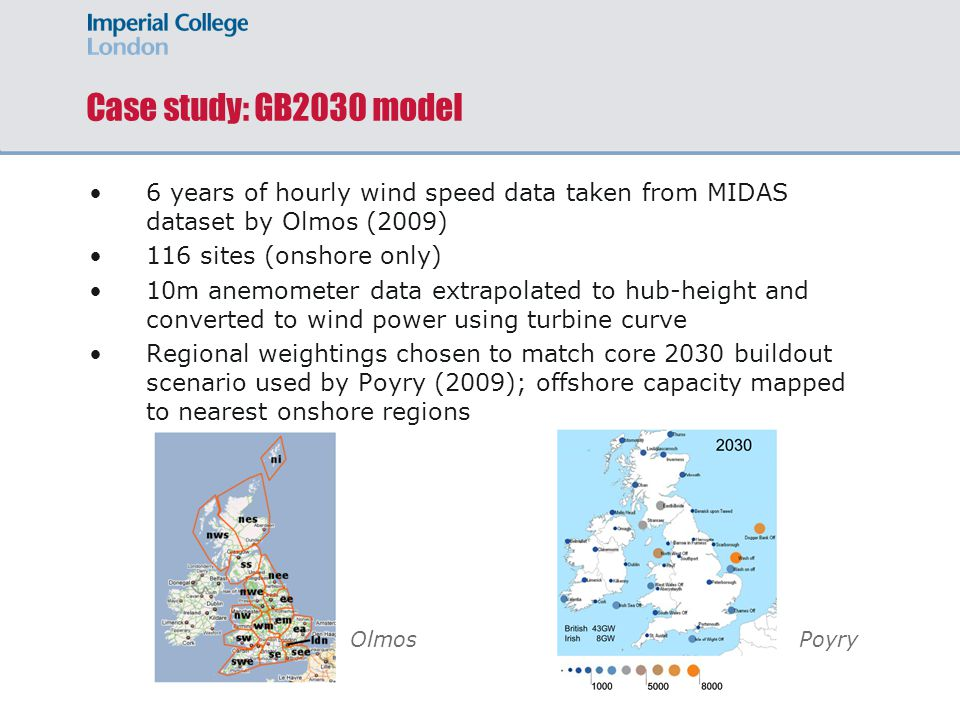 Case study: GB2030 model 6 years of hourly wind speed data taken from MIDAS dataset by Olmos (2009) 116 sites (onshore only) 10m anemometer data extrapolated to hub-height and converted to wind power using turbine curve Regional weightings chosen to match core 2030 buildout scenario used by Poyry (2009); offshore capacity mapped to nearest onshore regions OlmosPoyry