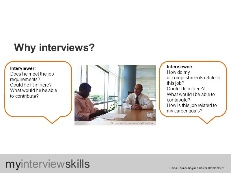 Why interviews. Interviewer: Does he meet the job requirements.