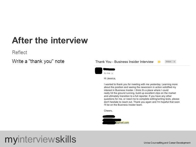 After the interview Reflect Write a thank you note myinterviewskills Unisa Counselling and Career Development