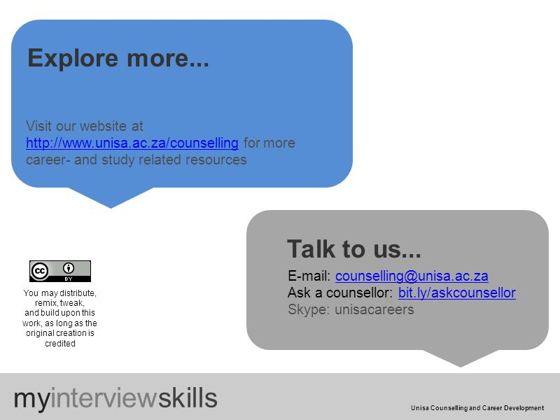 myinterviewskills Unisa Counselling and Career Development Explore more...
