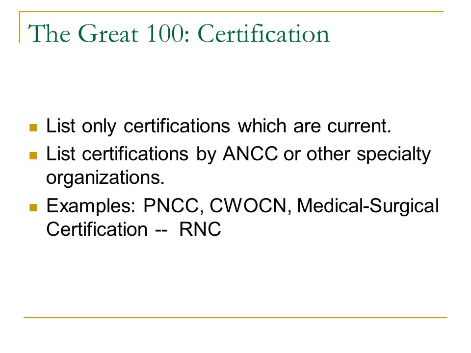 """The Great 100 Nomination Application The """"Best"""" Completion Strategy ..."""