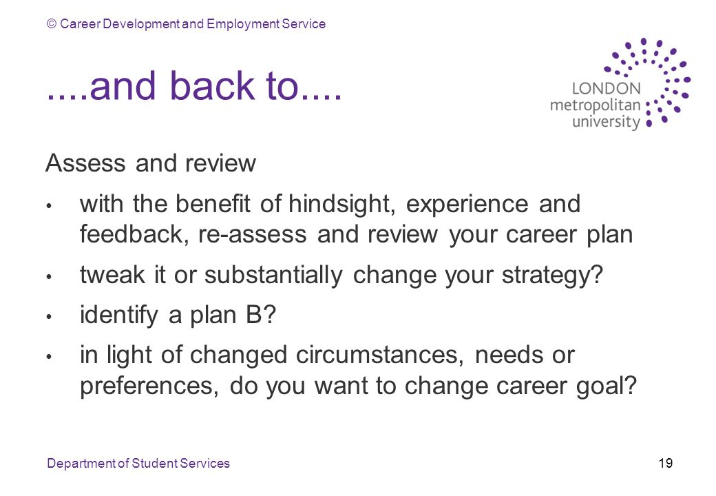 © Career Development and Employment Service....and back to....