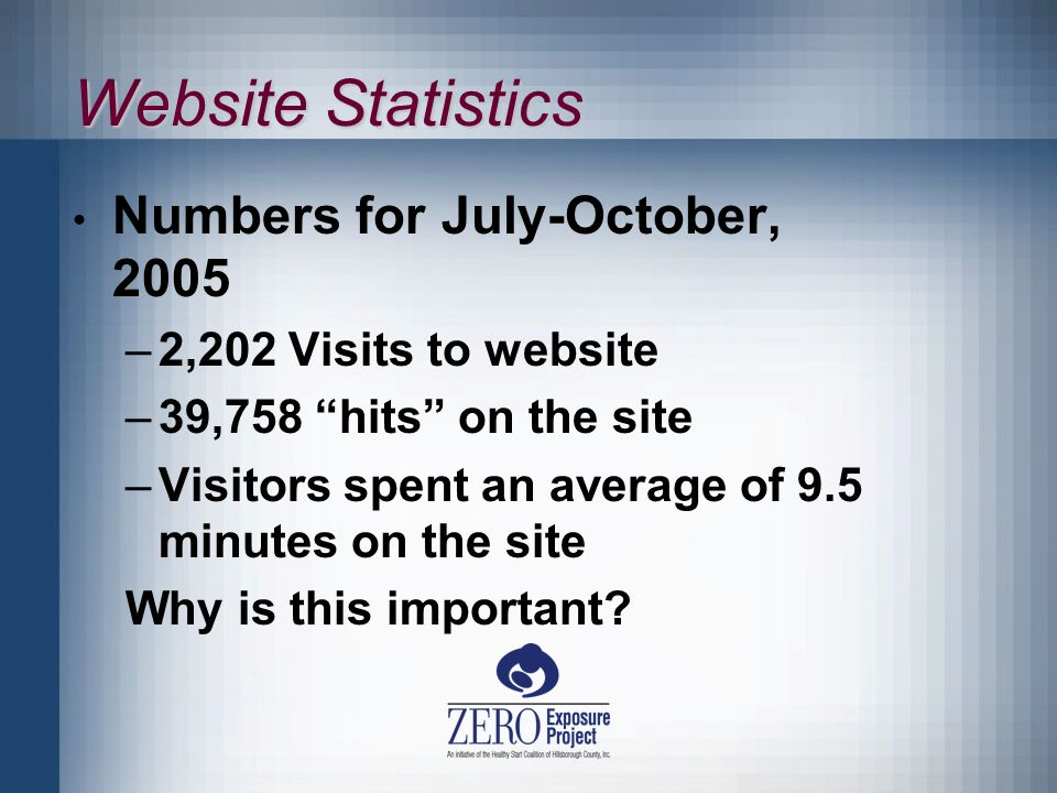 Website Statistics Numbers for July-October, 2005 –2,202 Visits to website –39,758 hits on the site –Visitors spent an average of 9.5 minutes on the site Why is this important