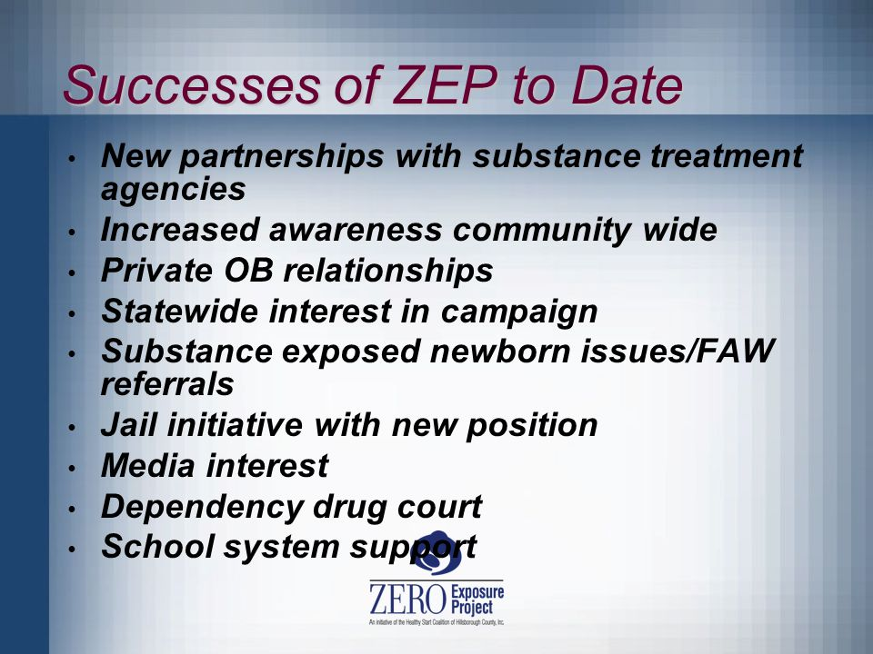 Successes of ZEP to Date New partnerships with substance treatment agencies Increased awareness community wide Private OB relationships Statewide interest in campaign Substance exposed newborn issues/FAW referrals Jail initiative with new position Media interest Dependency drug court School system support