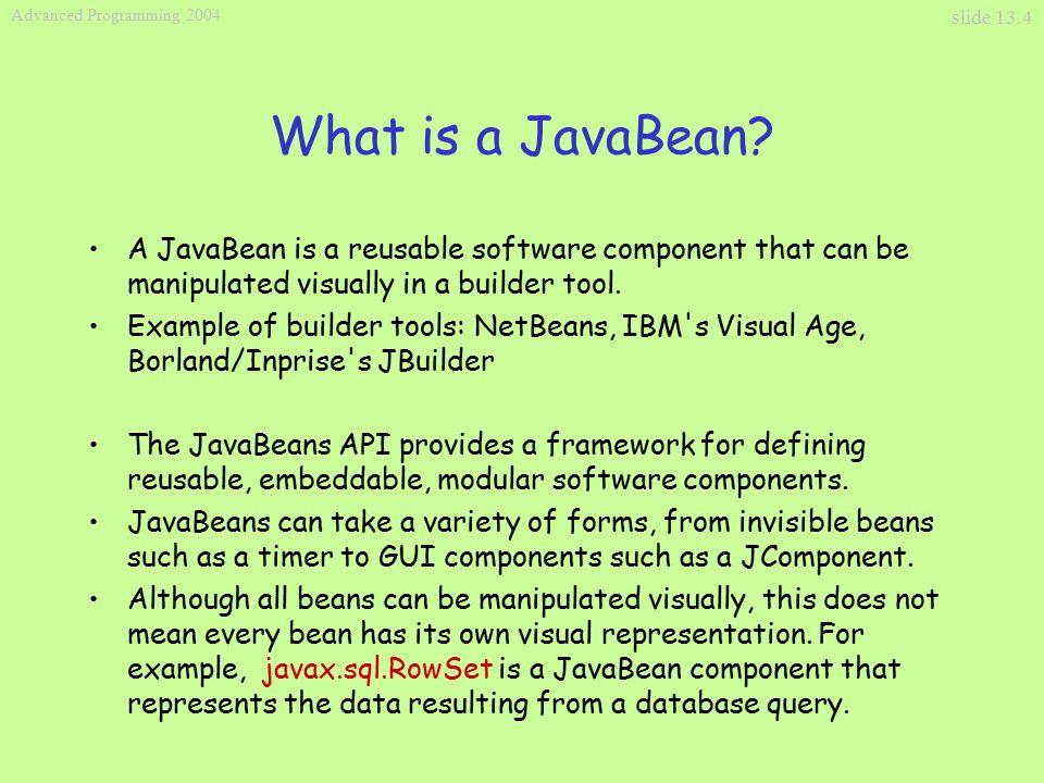 Slide 13 1 Advanced Programming 2004 Java Beans  slide 13 2