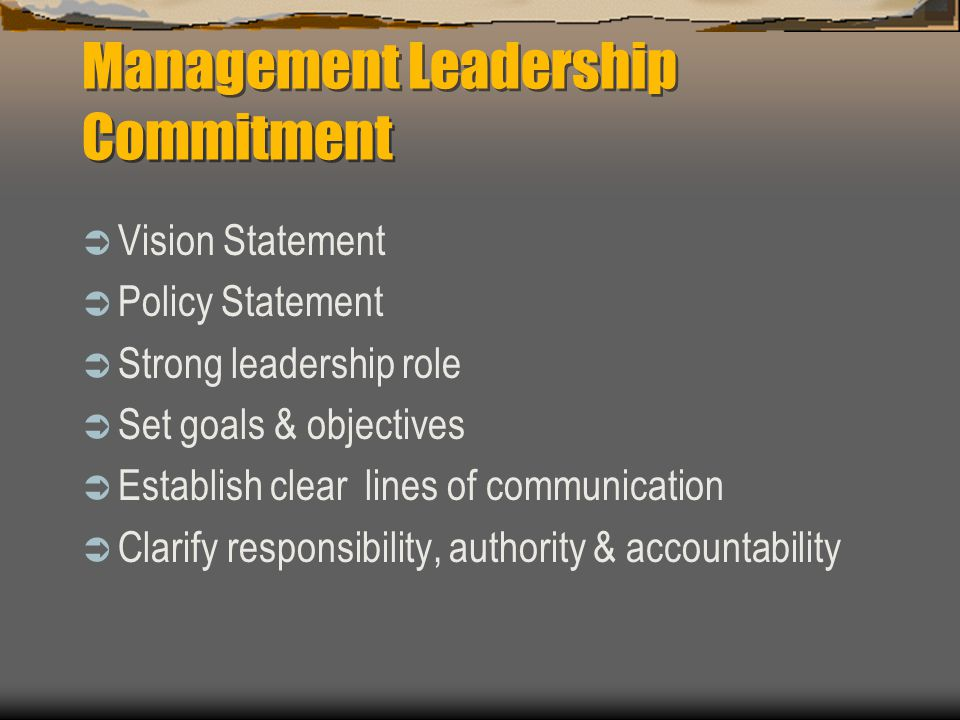 Part One Management Leadership & Employee Involvement