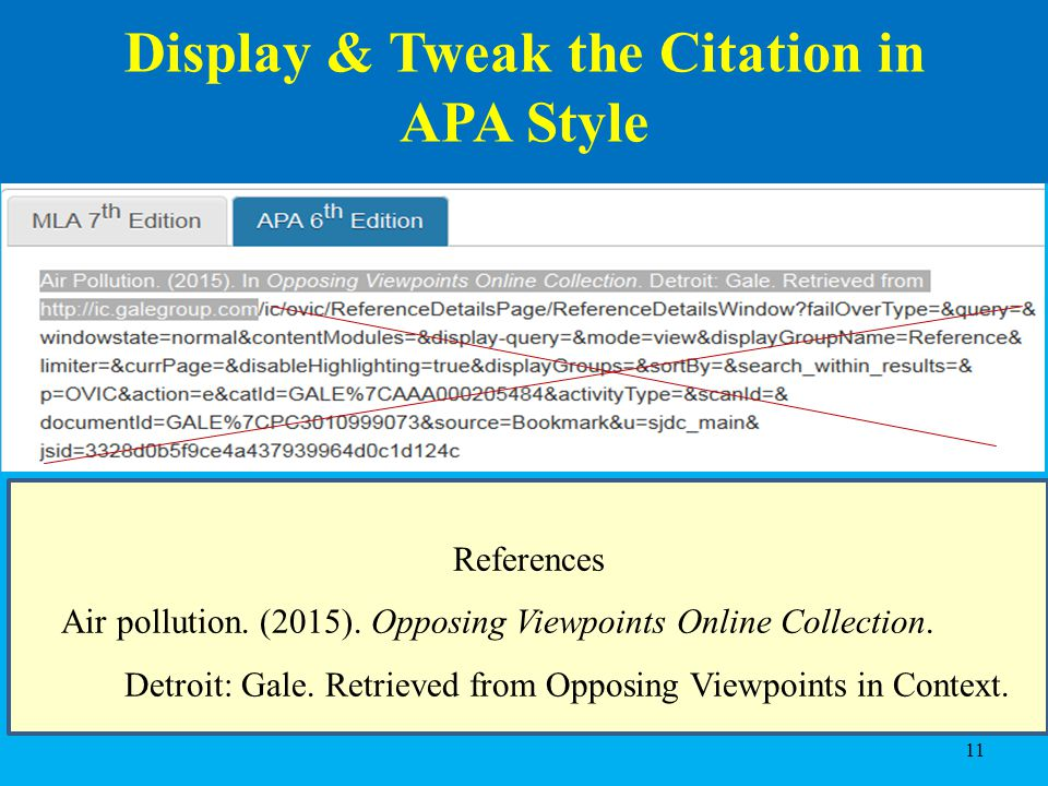 Introduction to the librarys online catalog and online databases dr 11 display tweak the citation in apa style references air pollution ccuart Choice Image