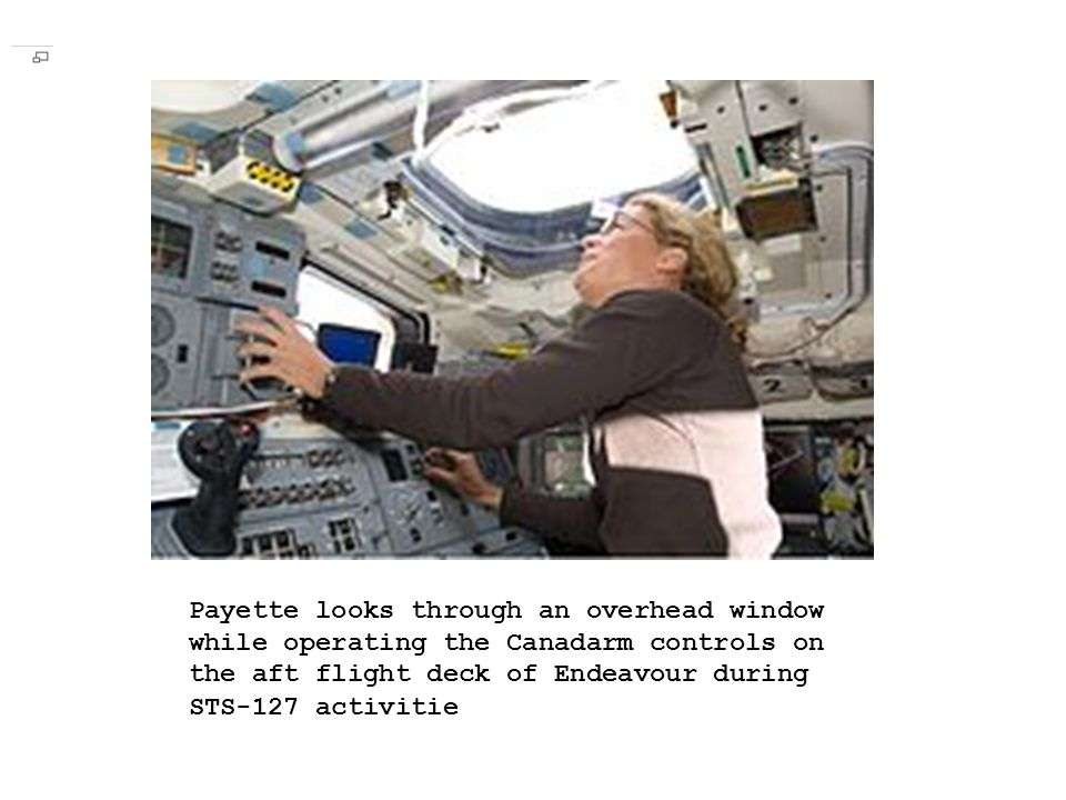 Payette looks through an overhead window while operating the Canadarm controls on the aft flight deck of Endeavour during STS-127 activitie