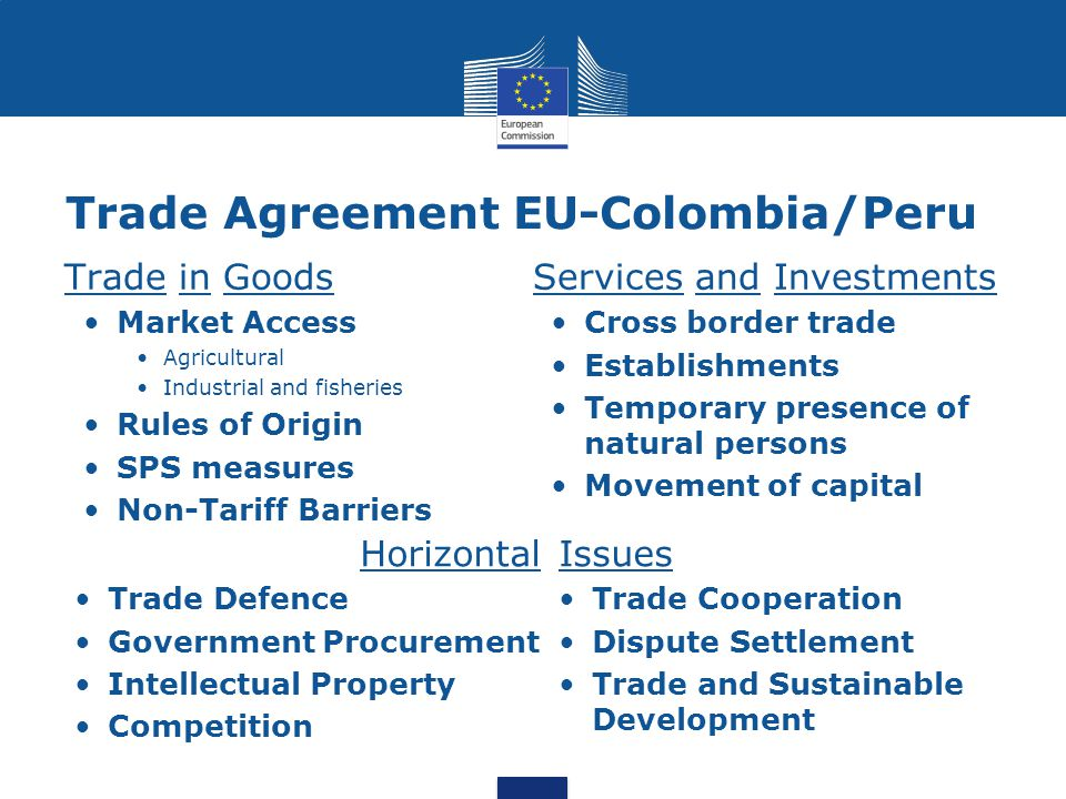 Trade Agreement Eu Colombiaperu European Commission Dg Trade Ppt