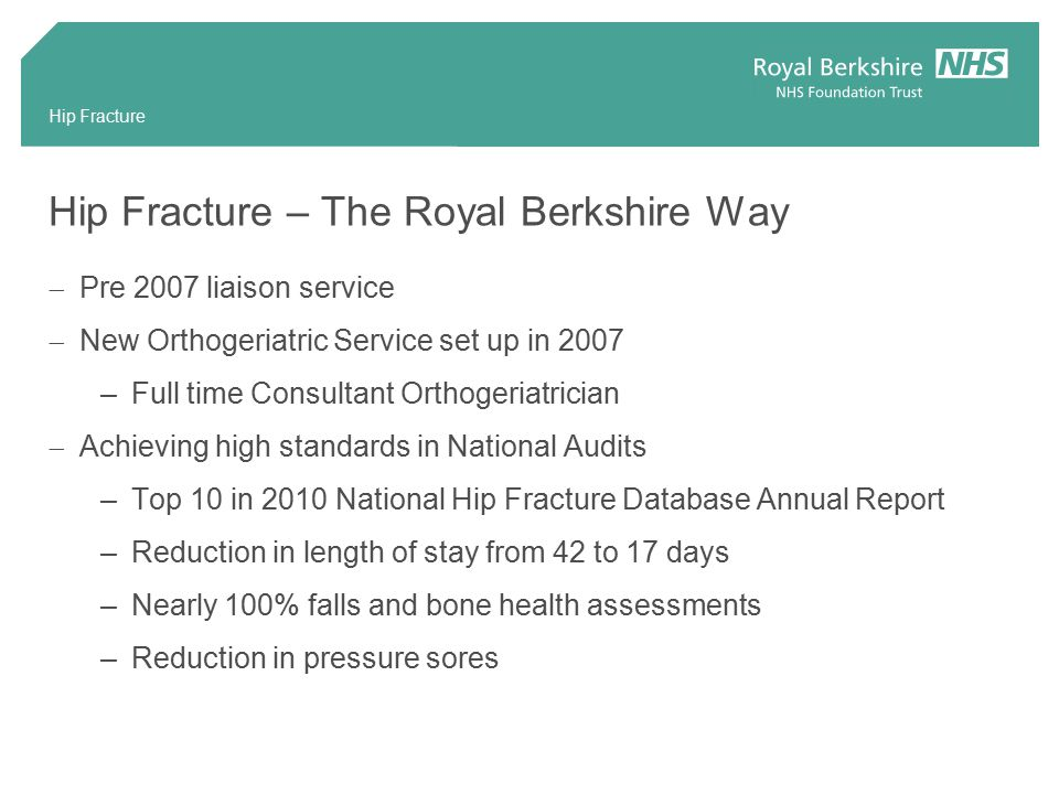 Hip Fracture Hip Fracture – The Royal Berkshire Way  Pre 2007 liaison service  New Orthogeriatric Service set up in 2007 –Full time Consultant Orthogeriatrician  Achieving high standards in National Audits –Top 10 in 2010 National Hip Fracture Database Annual Report –Reduction in length of stay from 42 to 17 days –Nearly 100% falls and bone health assessments –Reduction in pressure sores