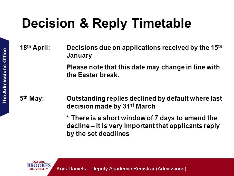 The Admissions Office Krys Daniels – Deputy Academic Registrar (Admissions) Decision & Reply Timetable 18 th April:Decisions due on applications received by the 15 th January Please note that this date may change in line with the Easter break.