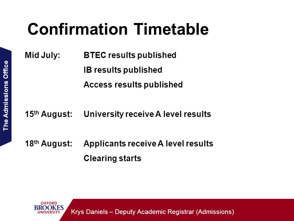 The Admissions Office Krys Daniels – Deputy Academic Registrar (Admissions) Confirmation Timetable Mid July:BTEC results published IB results published Access results published 15 th August:University receive A level results 18 th August: Applicants receive A level results Clearing starts