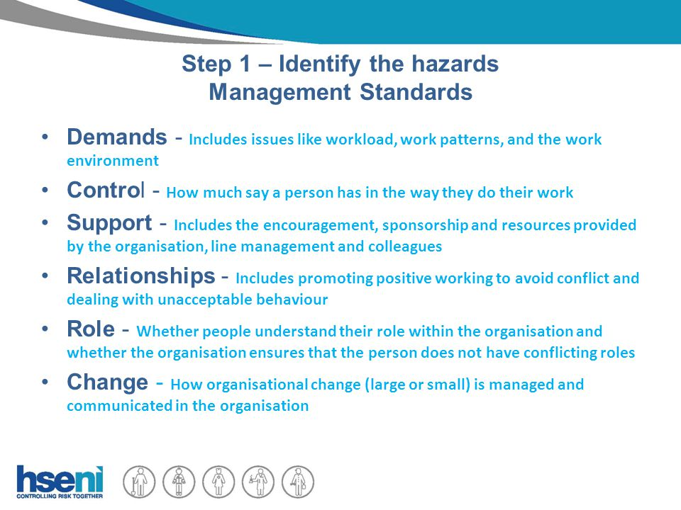 Step 1 – Identify the hazards Management Standards Demands - Includes issues like workload, work patterns, and the work environment Control - How much say a person has in the way they do their work Support - Includes the encouragement, sponsorship and resources provided by the organisation, line management and colleagues Relationships - Includes promoting positive working to avoid conflict and dealing with unacceptable behaviour Role - Whether people understand their role within the organisation and whether the organisation ensures that the person does not have conflicting roles Change - How organisational change (large or small) is managed and communicated in the organisation