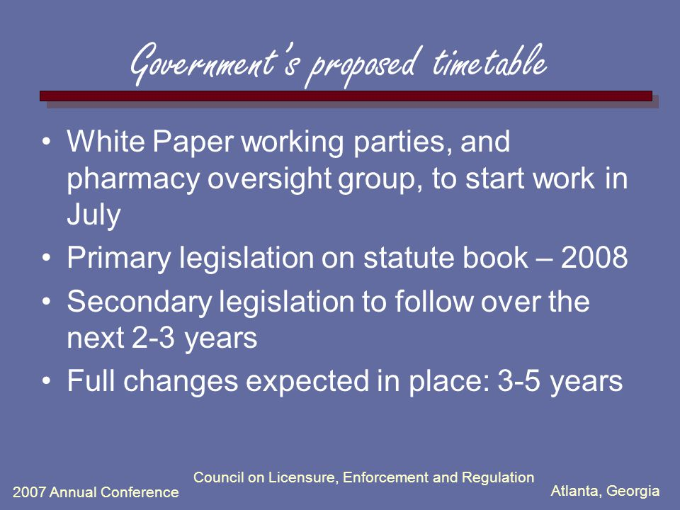 Atlanta, Georgia 2007 Annual Conference Council on Licensure, Enforcement and Regulation Government's proposed timetable White Paper working parties, and pharmacy oversight group, to start work in July Primary legislation on statute book – 2008 Secondary legislation to follow over the next 2-3 years Full changes expected in place: 3-5 years