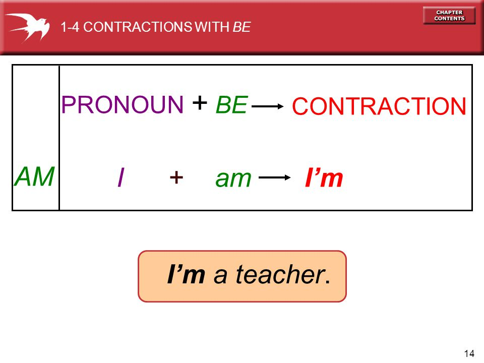 14 AM I + am I'm I'm a teacher. PRONOUN + BE CONTRACTION 1-4 CONTRACTIONS WITH BE