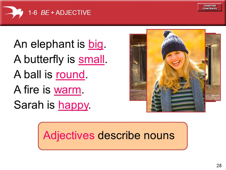 BE + ADJECTIVE Adjectives describe nouns An elephant is big.