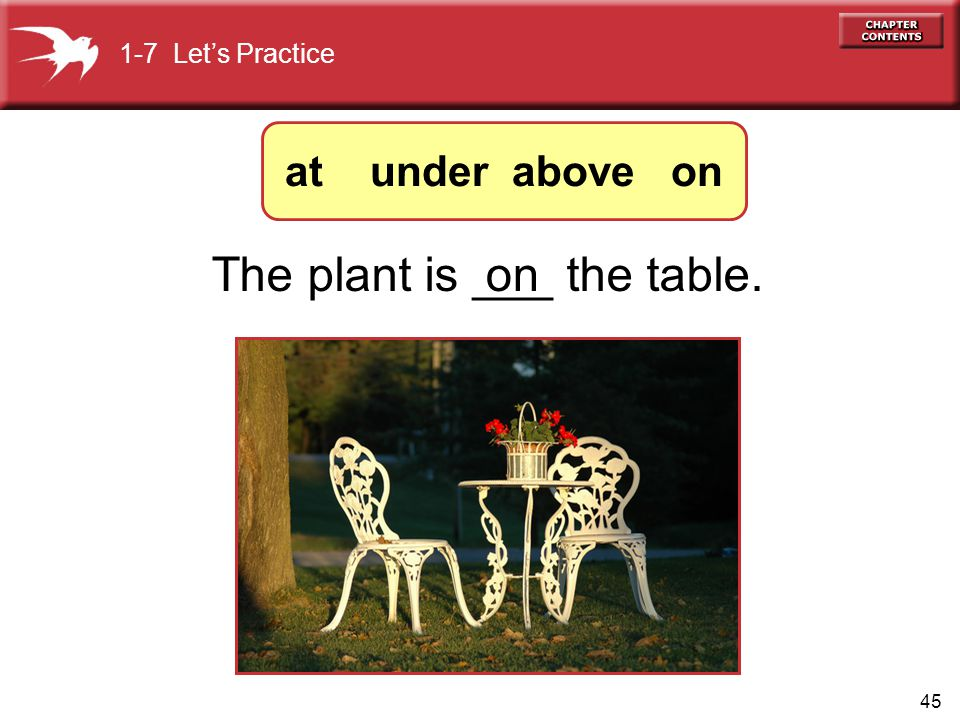 45 onThe plant is ___ the table. 1-7 Let's Practice at under above on