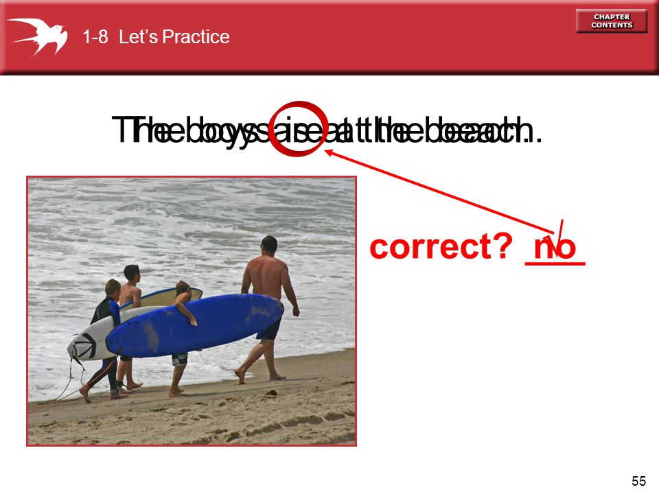 55 The boys are at the beach.The boys is at the beach. no  1-8 Let's Practice correct ___