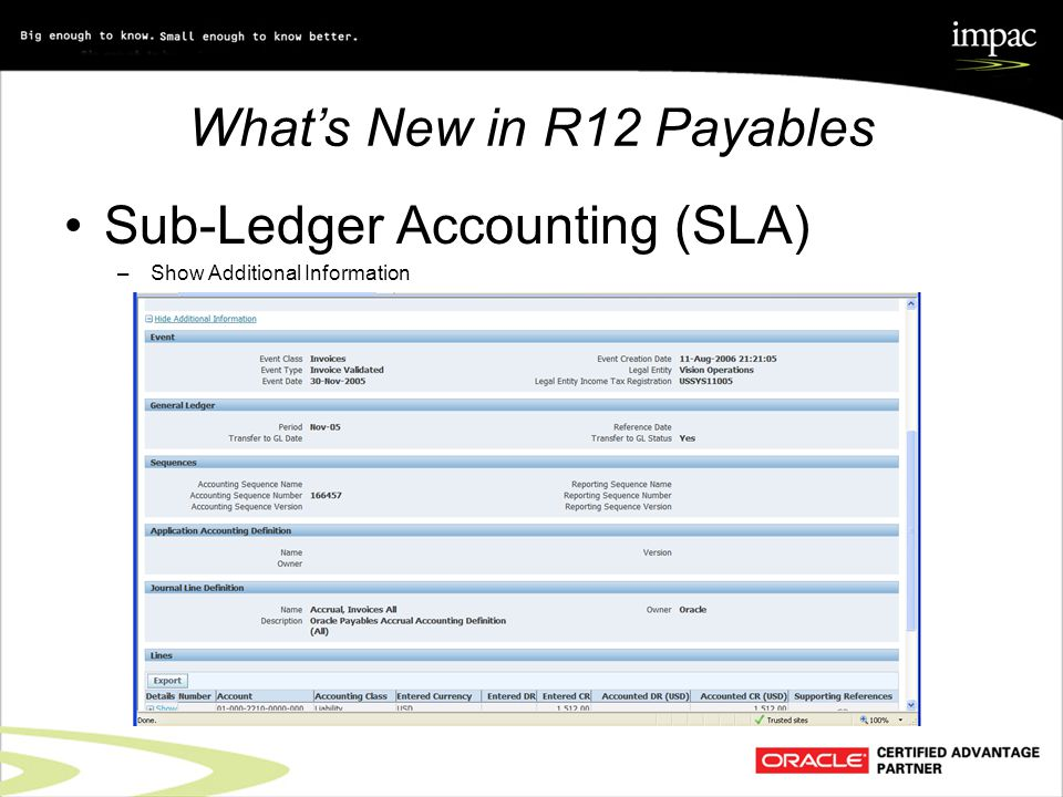 What's New in R12 Payables Sub-Ledger Accounting (SLA) –Show Additional Information