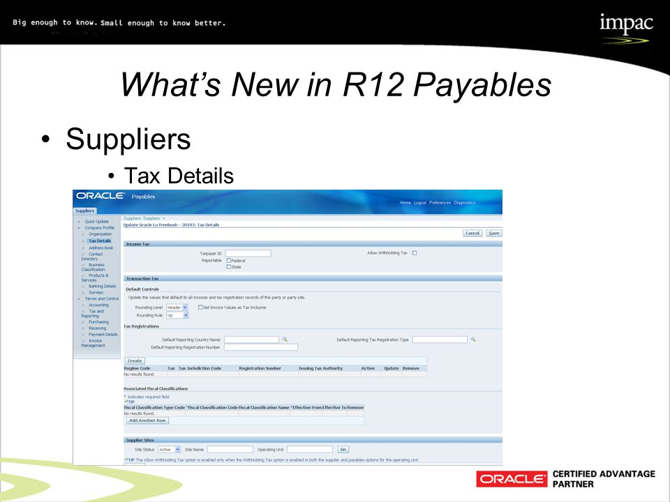 What's New in R12 Payables Suppliers Tax Details