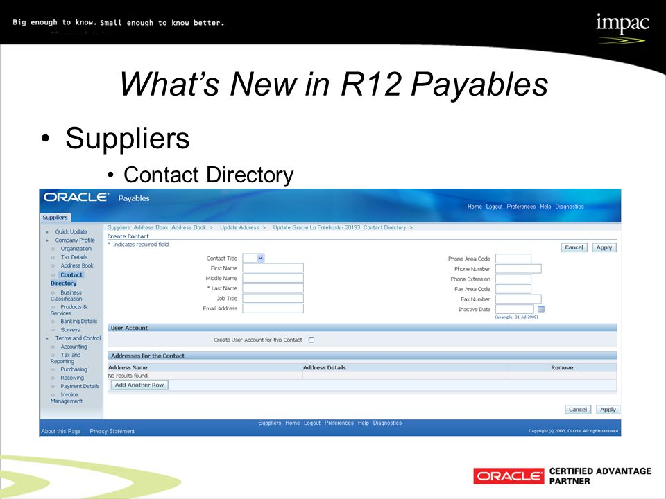What's New in R12 Payables Suppliers Contact Directory