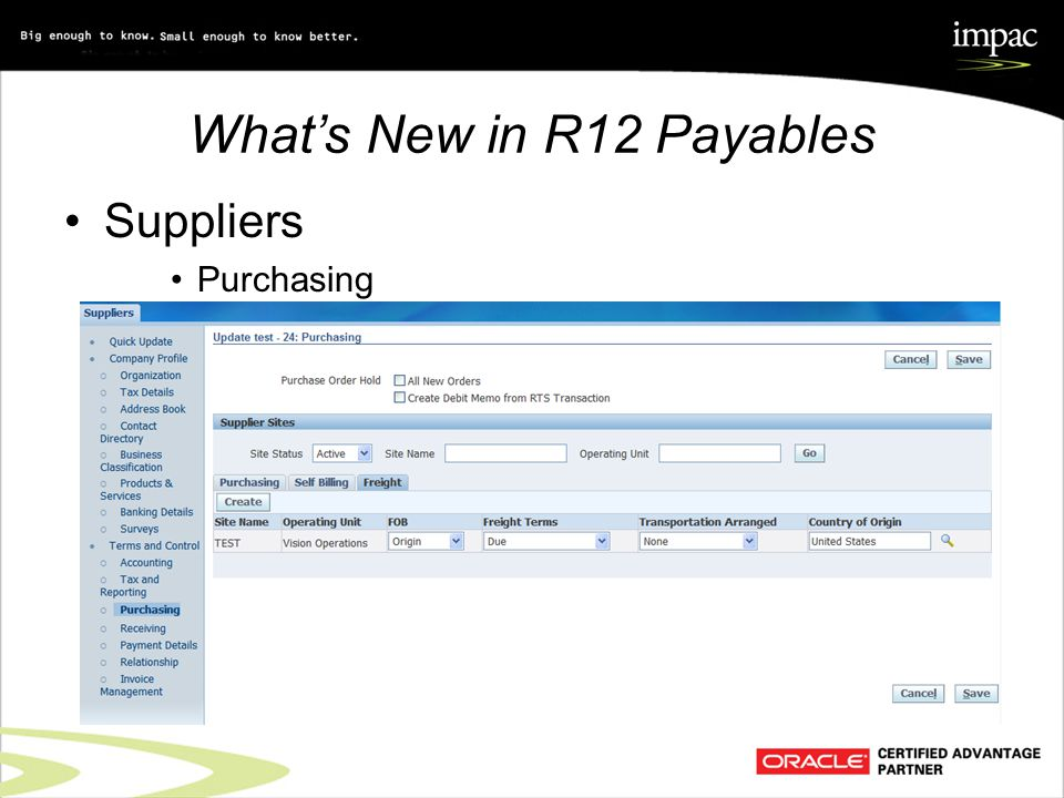 What's New in R12 Payables Suppliers Purchasing