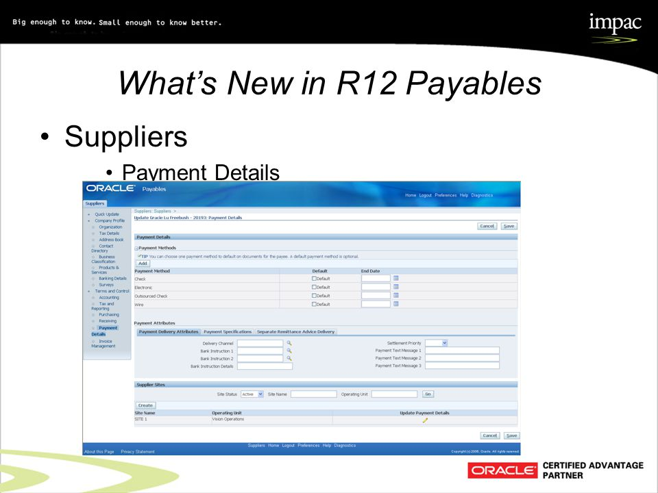 What's New in R12 Payables Suppliers Payment Details