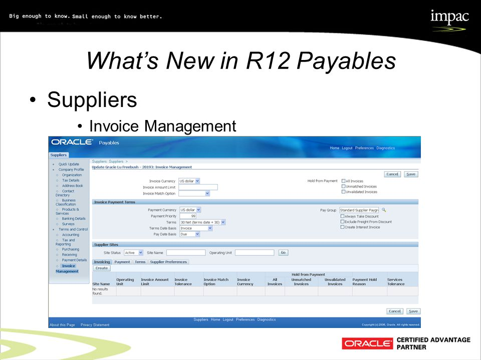What's New in R12 Payables Suppliers Invoice Management