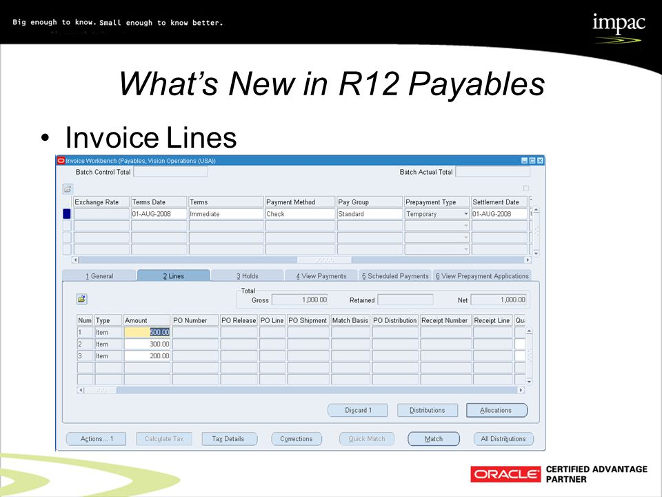 What's New in R12 Payables Invoice Lines