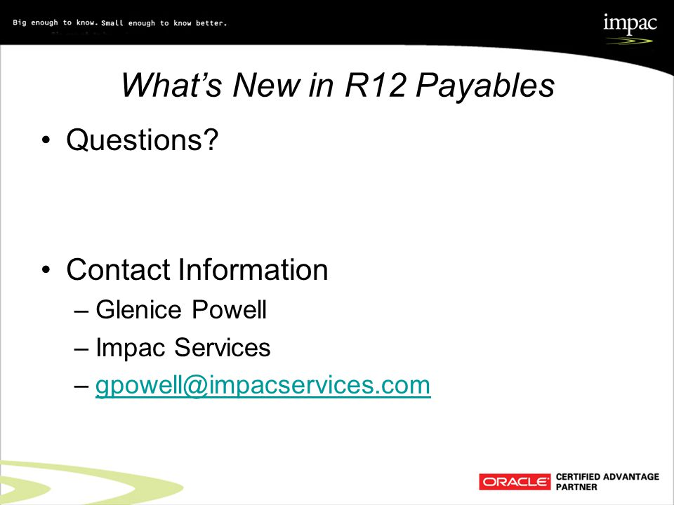 What's New in R12 Payables Questions.