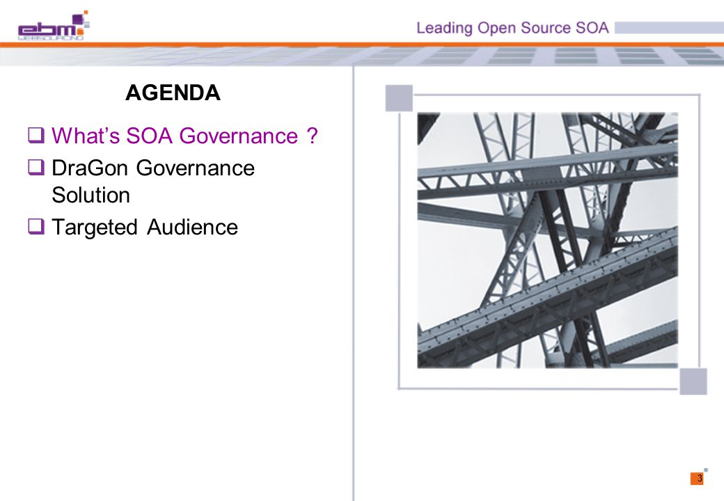AGENDA 3  What's SOA Governance  DraGon Governance Solution  Targeted Audience