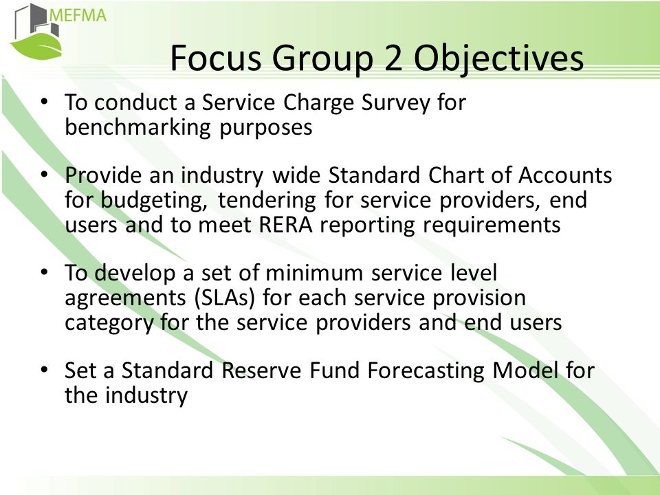 Service Charge Calculation Strategy MEFMA Focus Group ppt