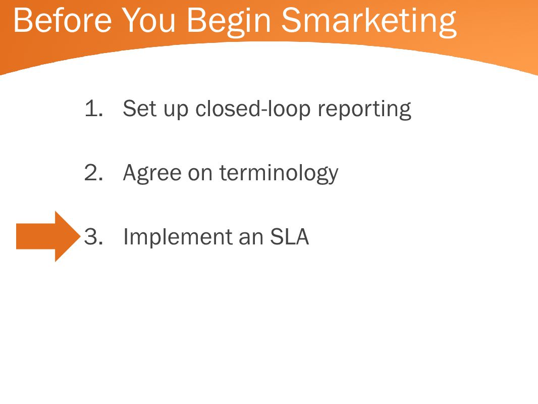 Before You Begin Smarketing 1.Set up closed-loop reporting 2.Agree on terminology 3.Implement an SLA