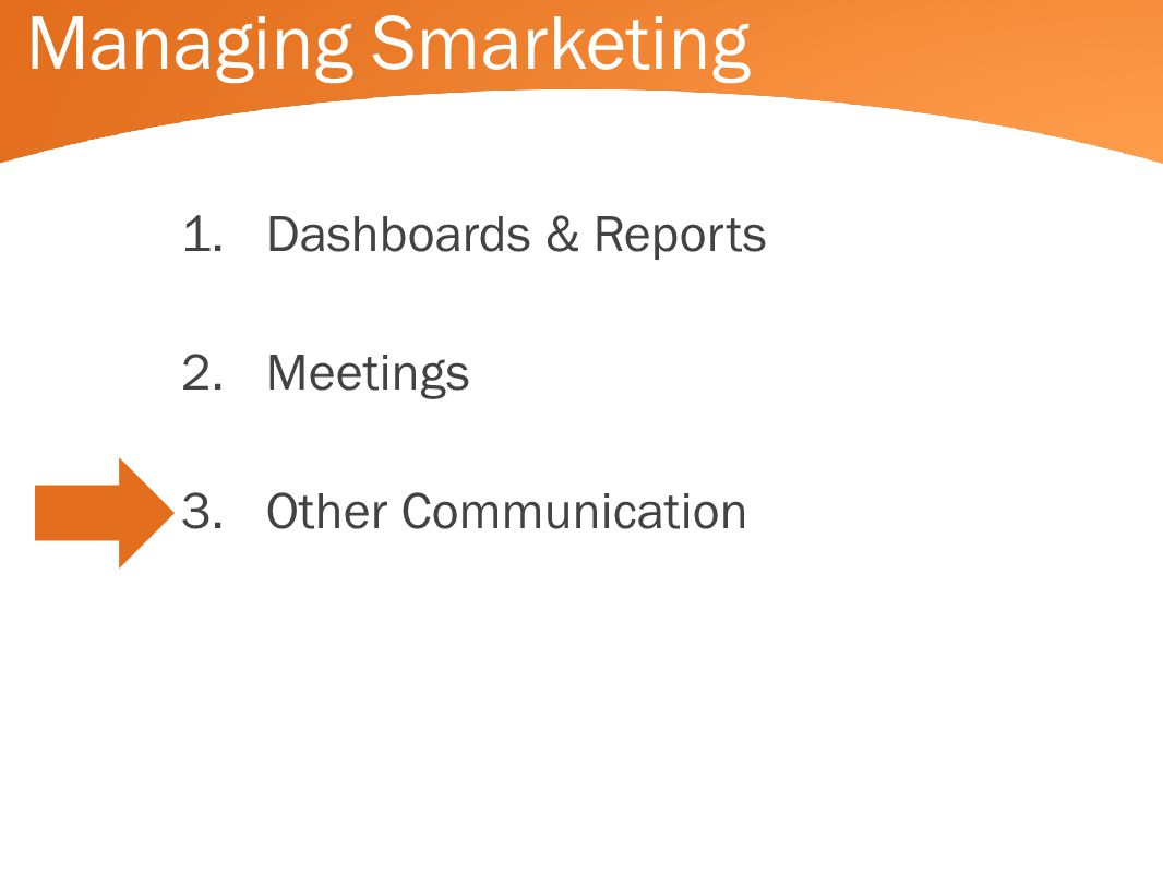 Managing Smarketing 1.Dashboards & Reports 2.Meetings 3.Other Communication