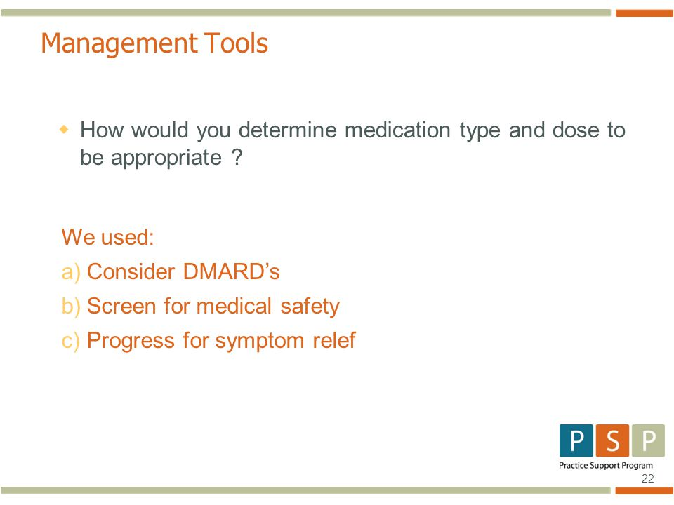 22 Management Tools  How would you determine medication type and dose to be appropriate .