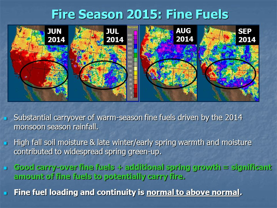 Fire Season 2015: Fine Fuels JUN2014 JUL2014 AUG2014 SEP2014 Substantial carryover of warm-season fine fuels driven by the 2014 monsoon season rainfall.