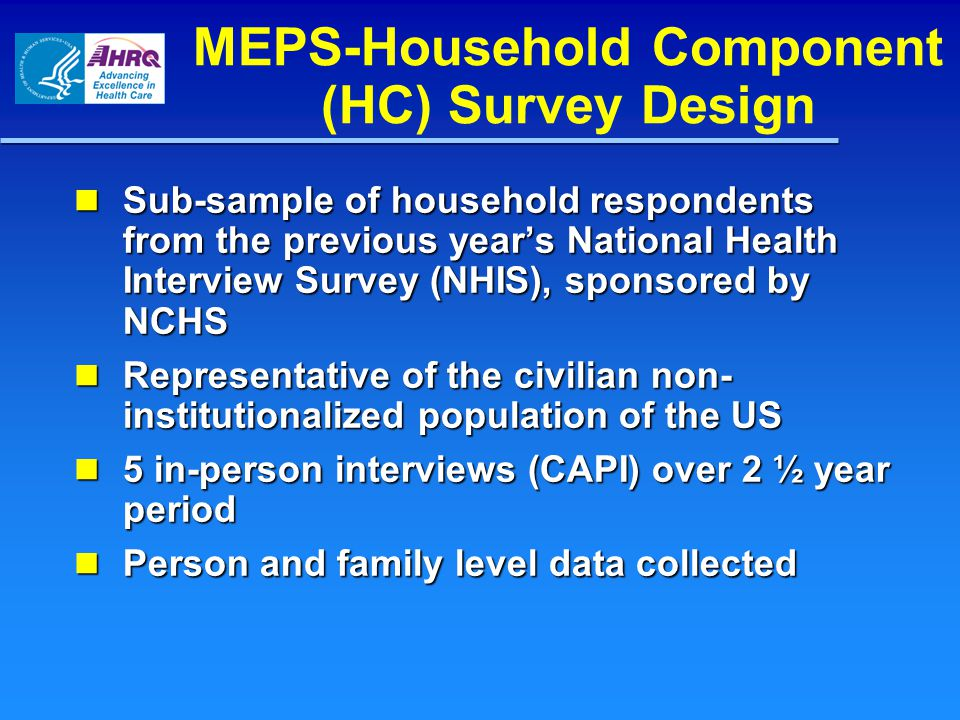MEPS-Household Component (HC) Survey Design Sub-sample of household respondents from the previous year's National Health Interview Survey (NHIS), sponsored by NCHS Sub-sample of household respondents from the previous year's National Health Interview Survey (NHIS), sponsored by NCHS Representative of the civilian non- institutionalized population of the US Representative of the civilian non- institutionalized population of the US 5 in-person interviews (CAPI) over 2 ½ year period 5 in-person interviews (CAPI) over 2 ½ year period Person and family level data collected Person and family level data collected