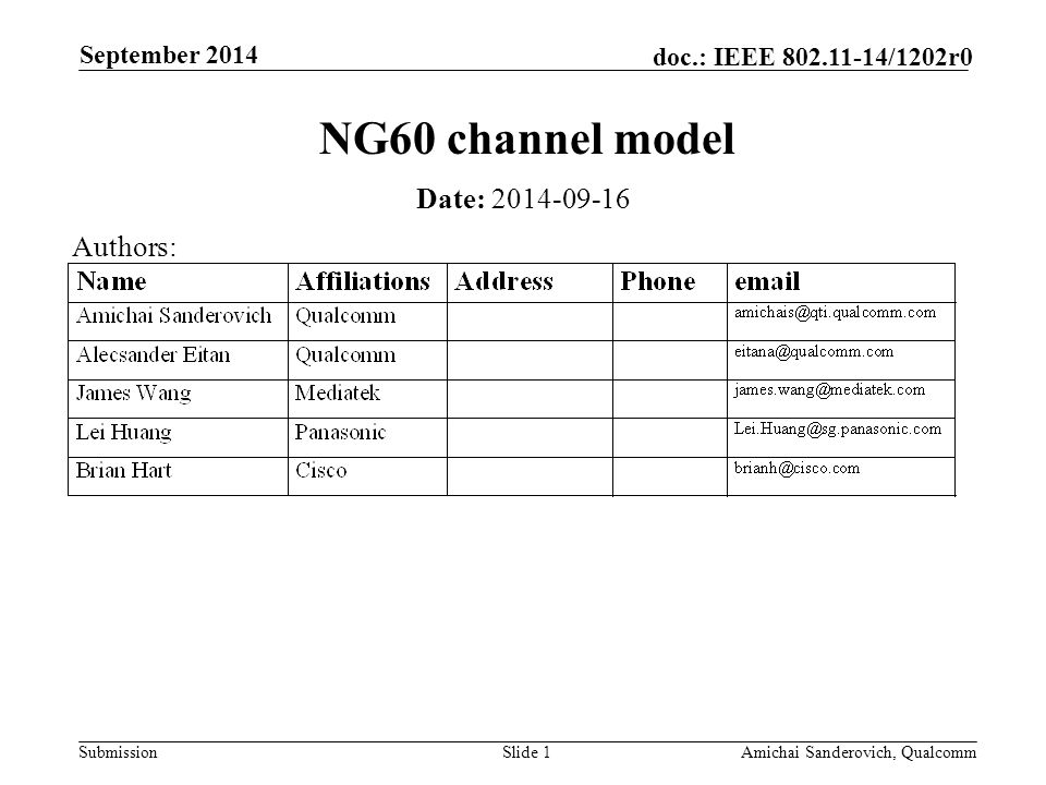 Submission doc.: IEEE /1202r0 September 2014 Amichai Sanderovich, QualcommSlide 1 NG60 channel model Date: Authors: