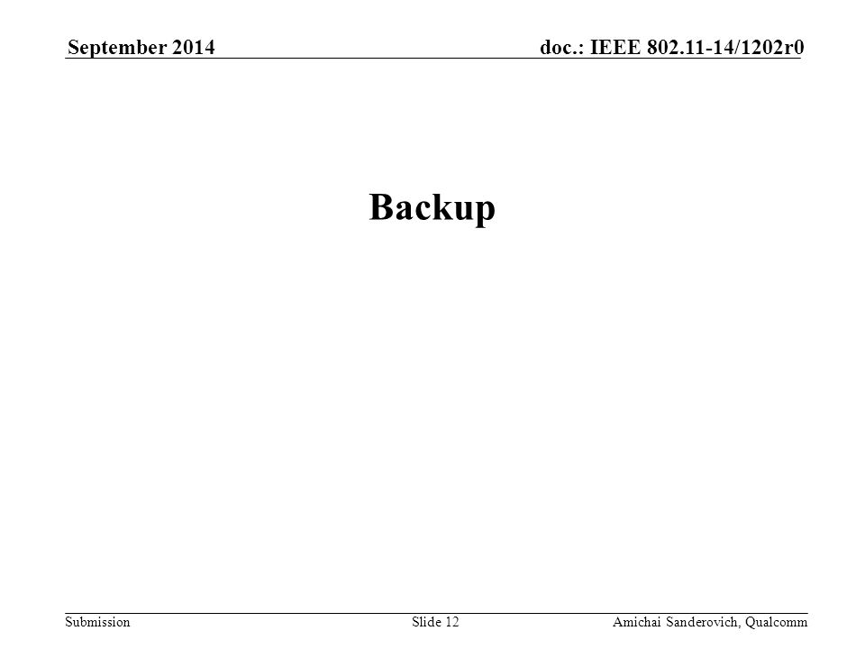 Submission doc.: IEEE /1202r0September 2014 Amichai Sanderovich, QualcommSlide 12 Backup