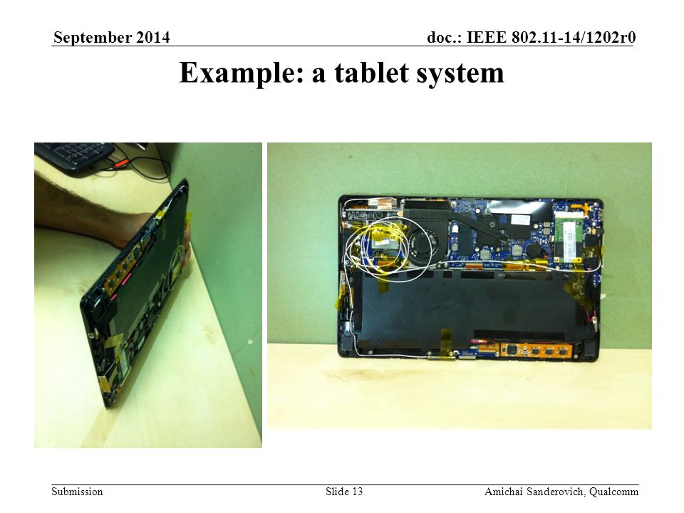 Submission doc.: IEEE /1202r0September 2014 Amichai Sanderovich, QualcommSlide 13 Example: a tablet system